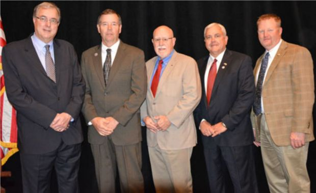 2015–2016 USMEF Chair Roel Andriessen with incoming Chair Bruce Schmoll, Chair-elect Dennis Stiffler, Vice Chair Conley Nelson and Secretary-Treasurer Cevin Jones (from left)