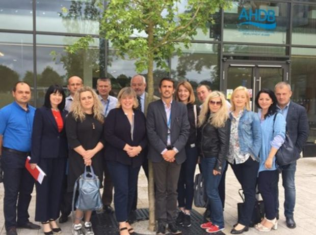 AHDB Senior Veterinary Manager Mandy Nevel and AHDB International Market Development Director Dr Phil Hadley (front centre) host food safety specialists from the Ukraine at AHDB's headquarters.