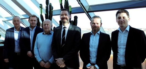 From the left: Tulip's CFO Henrik Weihrauch, the board members Per Fischer Larsen and Steffen Ramsgaard from DK-Foods, Tulip's CEO Kasper Lenbroch, partner Per Høholt from May Invest Equity and Kasper Orloff, who is the VP Corporate Secretary at Danish Crown.