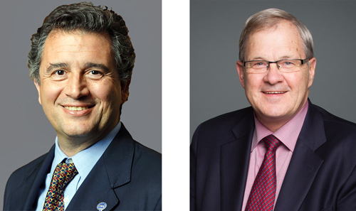 Agriculture ministers Luis Miguel Etchevehere of Argentina (left) and Lawrence MacAulay of Canada will address the 2018 World Meat Congress in Dallas