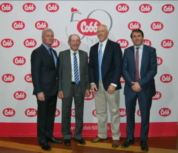 Noel White, CEO Tyson Foods; Rafael Gil Martin, shareholder, Cobb Spain; Joel Sappenfield, president, Cobb-Vantress; and Rafael Gil, managing director of Cobb Spain attended the event.