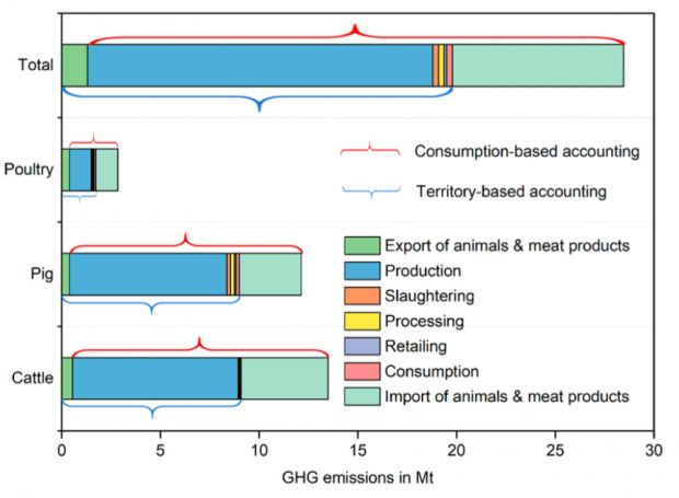 Distribution of greenhouse gas emissions from different sectors in Germany's meat industry. Emissions are shown for production (blue), export (green), slaughtering (orange), processing (yellow), retailing (purple), consumption (pink) and imports (turquoise).
