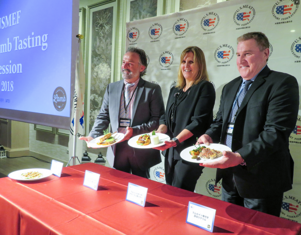 American Lamb Board (from left to right) members Greg Ahart and Elizabeth Dressler and USMEF President and CEO Dan Halstrom display US lamb dishes at a seminar and tasting event marking US lamb's return to Japan.