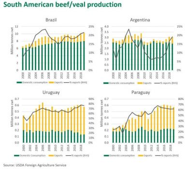 Considering the strong global demand for animal protein and the low value of the Argentine Peso and Brazilian Real relative to the US dollar, South American exports are expected to keep growing.