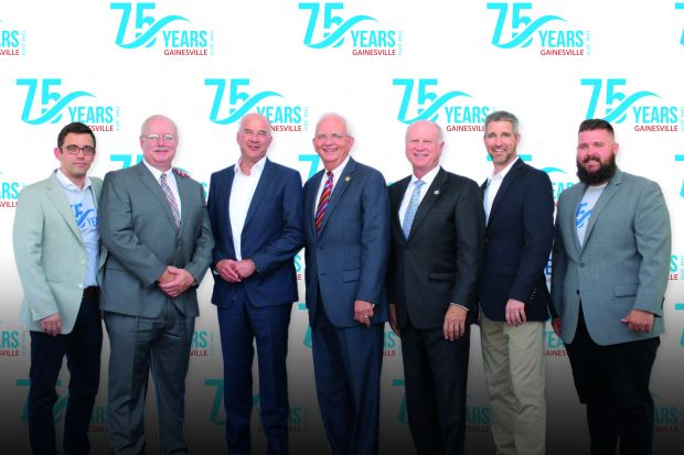 Left to right: Roger Claessens, EVP Marel Poultry; Mark Lamb, Technical Center Manager; Folkert Bölger, EVP Global Supply Chain; Gary Black, GA Agriculture Commissioner; Butch Miller, GA State Senator; Chris Siegert, Director of Manufacturing Gainesville; Kenneth Cox, Regional Finance Director.