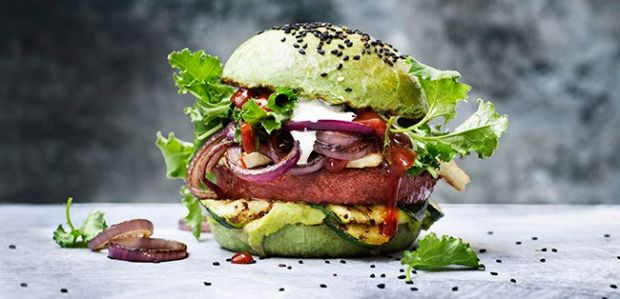 The burger is 100% plant-based, with natural protein from soy and wheat.