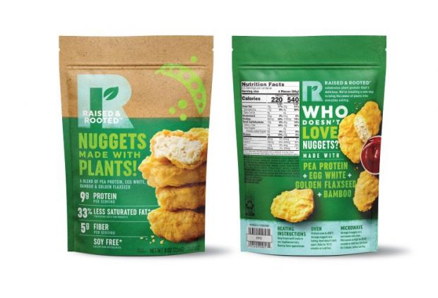 The Raised & Rooted nuggets are made from a blend of pea protein isolate and other plant ingredients and contain five grams of fiber and omega-3s, and less saturated fat than traditional nuggets.