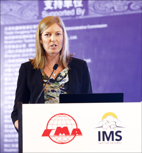 USMEF Economist Erin Borror addresses the World Pork Conference in Chengdu, China