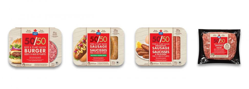 The product range includes: Maple Leaf 50/50 Burger, Maple Leaf 50/50 Dinner Sausages, Maple Leaf 50/50 Breakfast Sausages and Maple Leaf 50/50 Grounds.